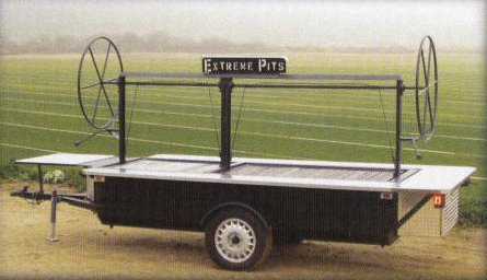 Bar b que pits - barbeque trailers are here. Buy smokers or bbq trailers - custom wood burning bbq pits and smoker grills. We feature an extreme barbecue pit as a barbecue grill trailer.